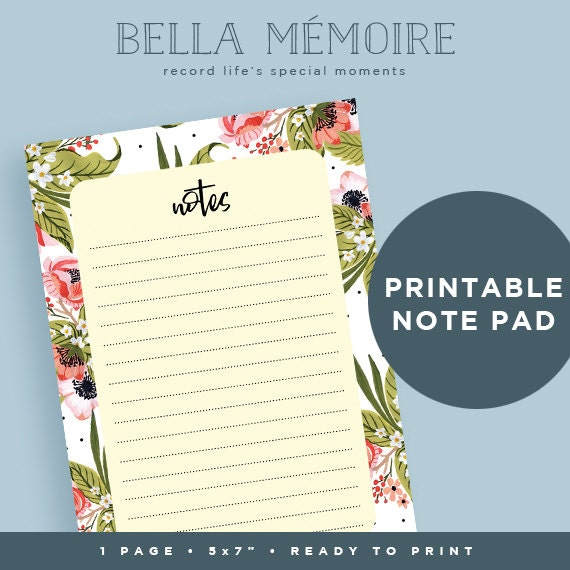 Printable Notes Page // INSTANT DOWNLOAD // Daily ...