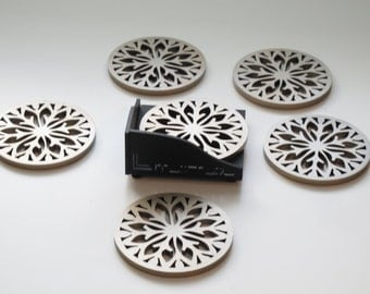 Abstract Design Laser Cut Wood Coaster Set of 6 with Holder