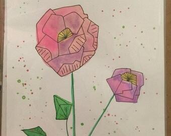 Watercolor Geo Bumblebee and Flower
