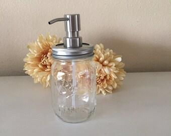 Mason Jar Soap Dispenser.  Clear Ball Soap Dispenser. Home Decor. Rustic Home Decor. Bathroom.
