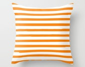 Orange Striped Pillow, Kids Room Decor, Girls Bedroom, Preppy Pillows, Kids Decorative Pillow Cover, Boys Bedding, Teen Room Decor