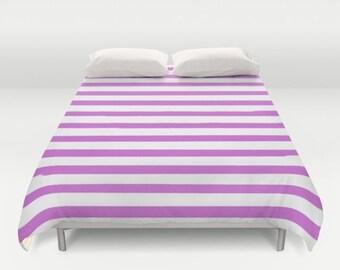 Purple Striped Duvet Cover, Kids Bedroom Decor, Girls Room Decor, Kids Bedding, Teen Girl Room Decor, Tween Girls, Twin, Queen, King Duvet