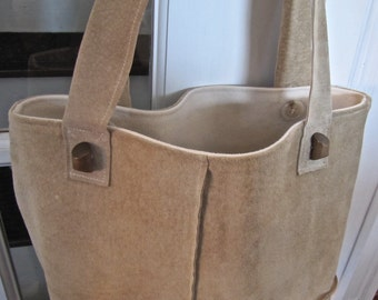 Recycled suede tote bag handmade from a Jones New York jacket. Fully lined. Shoulder length straps.