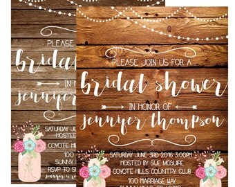 Rustic Wood Bridal Shower Invitation Invite 5X7 Digital File Customizable Barn Theme