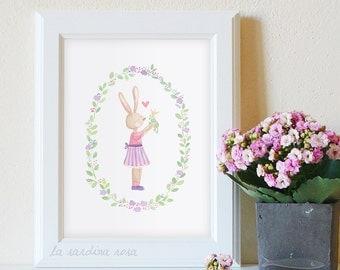 Nursery watercolor print Rabbit in love Baby's room wall art Bunny illustration Children room art