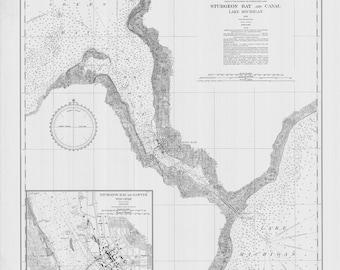 1936 Nautical Map of Sturgeon Bay & Canal Lake Michigan