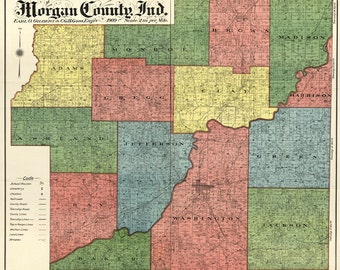 1894 Farm Line Map of Morgan County Indiana Martinsville