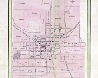 1847 Town Map of West Chester Pennsylvania