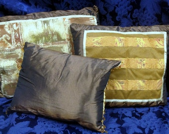 Set of three Umber Brown Silk Decorative Pillows
