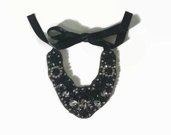 black clear beaded  bib ribbon necklace