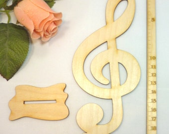 Clef in wood 200 mm m. foot special table decoration treble clef 7.8 inches