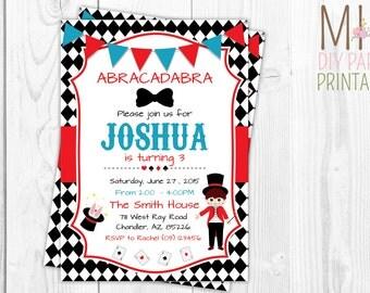Magic Party Invitation , Magic Birthday Invitation ,  Magic Invitation Printable , Magician Invitation