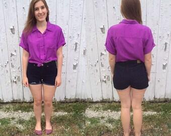 1980s purple silk shirt / vintage silk shirt / vintage silk top / purple top / purple shirt / vintage silk blouse
