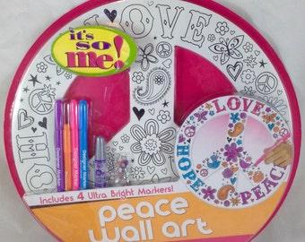 "Wall Art Craft Kit *Peace~Love~Hope*15"" round peace sign~Kids Activity~Gemstones"