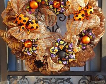 Halloween Wreath, Orange/Black/Burlap Wreath, Deco Mesh Wreath