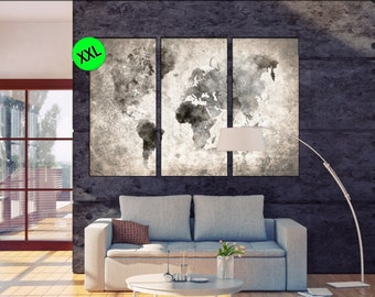 black and white world map canvas wall art print. black and white world map Large One or three panel world map art print on canvas