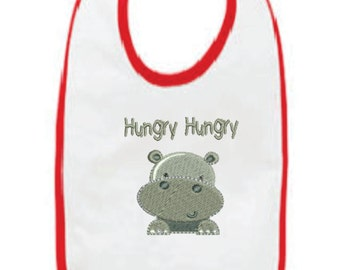 Hungry Hungry Hippo Embroidered Bib (Free Domestic Shipping)