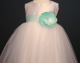 Mint flower girl dress, tulle dress, special occasion, white toddler dress, birthday dress, pageant dress, toddler party dress
