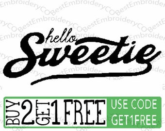 Doctor Who River Song Hello Sweetie Embroidery File
