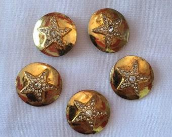 Vintage star button with rhinestones
