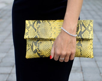 Yellow With Motive Leather Clutch | Python Clutch | Yellow with motive bag | Snakeskin Clutch | Evening bag | Leather Party Clutch