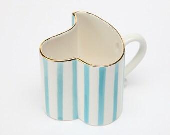 Heart shaped stripe couple mug-hand painted