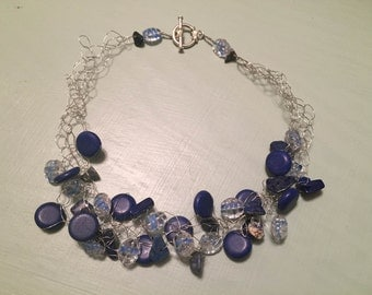 Blue crocheted necklace