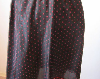 60s Slip Lingerie 1960's Womens Black Slip Vanity Fair Red Diamonds Red Ribbon 1/2 Slip
