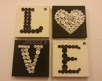 Black & white 'LOVE' canvases