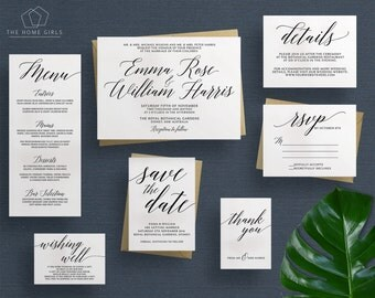 Wedding Invitation Suite Calligraphy | Save the Date | RSVP | Thank You | Details | Custom | Invite Set | Adriana Suite