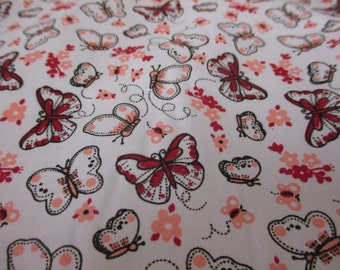 White with Orange & Red Butterfly, Butterflies Printed Polycotton Fabric. Price Per Metre.
