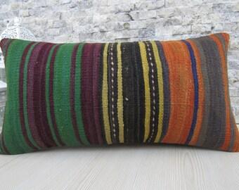 Rare Antique Kilim Pillow 12 x 24 Turkish Pillow Kelim Lumbar Decorative Pillow Kilim Cushion Bohemian Pillow Ethnic Pillow Boho Pillow
