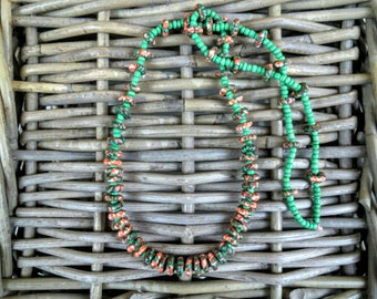 Gorgeous Ghanaian Glassbead Necklace, green and orange, 28 inches