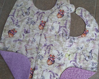 Butterflies in Lavender Garden - Large Adult Bib Clothes Shirt Protector Saver, Women Special Needs Pregnancy Make-up Bib