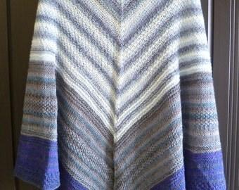 Winter Wormwood big striped white-grey-purple triangle shawl