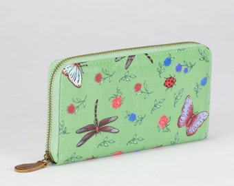 Oilcloth Zip around vegan Wallet- Dragonfly butterfly- Oil cloth ladies purse- Ladies Zip wallet- Coin purse- Laminated cotton- Iphone Plus
