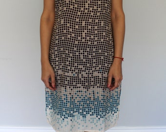Brown and Blue Box Print Tunic