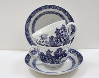 Cobalt Blue and White Willow Blue China Cup and Saucer Set Royal Cuthbertson Set of (2), Vintage, Kitchen Decor, Tea Cups