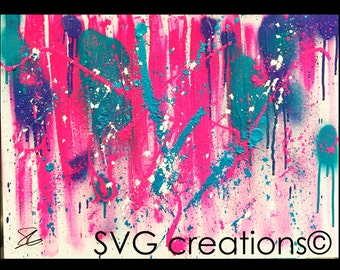 Abstract modern pink painting canvas acrylic 18 x 24