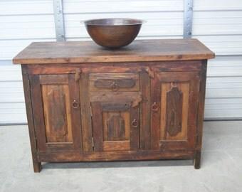 Rustic  Reclaimed Wood Single Sink Vanity (6154)