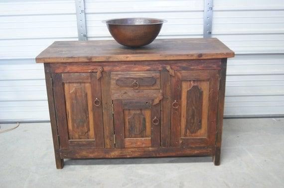 Rustic Reclaimed Wood Single Sink Vanity 6154