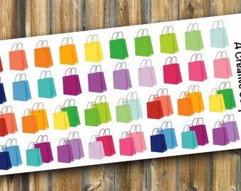Rainbow Shopping Bags Planner Stickers