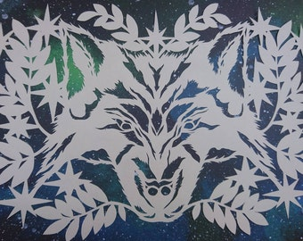 Gothic White Arctic Wolf Papercut