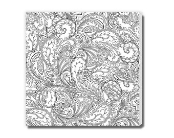 Paisley and Leaf Pattern Coloring Canvas
