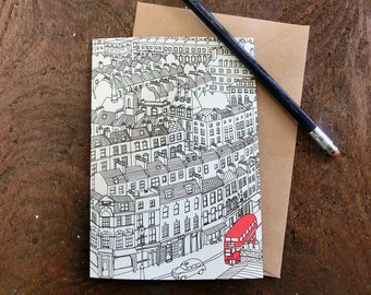 London Townhouses Greeting Card