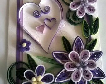 Birthday Card, Mother Day Card Love Card, Quilled Valentine Day Card, Handmade Quilling Card, Purple Flowers Card, Paper Card, Heart