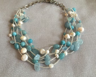aqua marine and oearl necklace