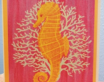 """Greeting card, """"Seahorse"""", handmade from an original painting.  Blank inside."""