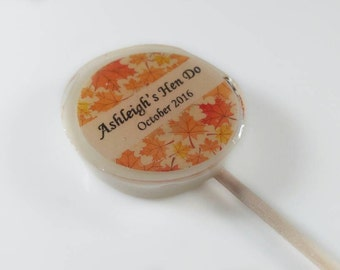 12 Autumn Wedding Favours,  Lollipops, Autumn Favours, Woodland Wedding, Lovely Lollies, Personalised Wedding Favours