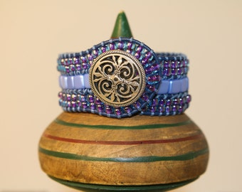CUFF TRIPLE WRAP -Bracelet - Handcrafted - Blue an Lavender Beads - Silver Button - Free Shipping